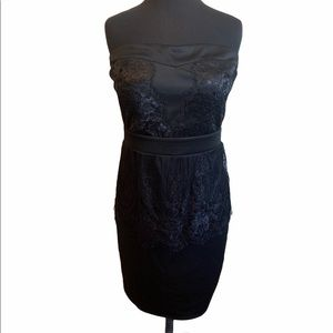 ❤️ Black strapless dress with lace! Size Large